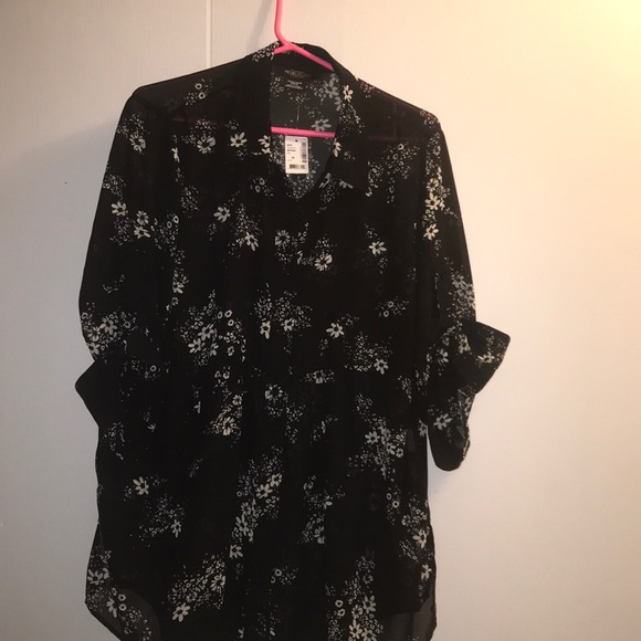 Michel Studio Black Blouse with Falling Petals